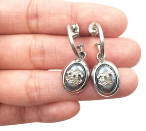 Chanel Authentic Chanel Silver CC Blue Loop Piercing Earrings