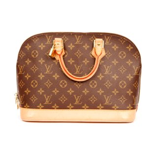 Louis Vuitton Alma Monogram Canvas Like New Satchel in Brown