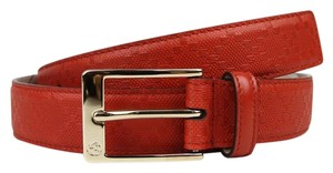 Gucci Diamante Leather Square Buckle Orange Red Belt 95/38 345658 6516