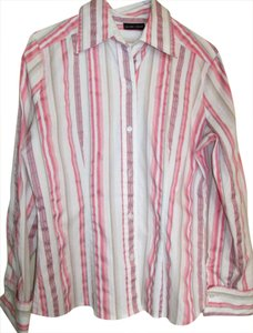 New York & Company Cotton Darts Multi Pastel Strip Button Down Shirt