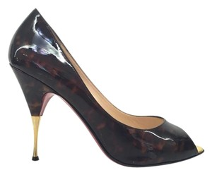 Christian Louboutin Tortoise Shell Patent Leather Brown Pumps