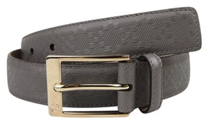 Gucci Diamante Leather Belt with Square Buckle Gray 105/42 345658 1226