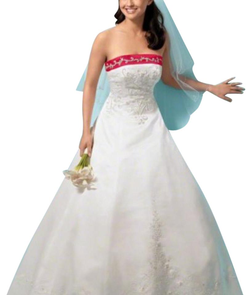 80b05d4d1c1 Alfred Angelo White with Red Trim Satin Modern Wedding Dress Size 18 ...