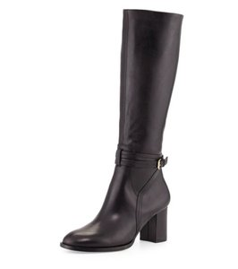 Halston Leather Boot Riding Black Boots