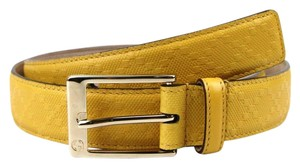 Gucci Diamante Leather Square Buckle Belt Yellow 80/32 345658 7011