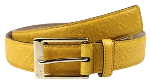 Gucci Diamante Leather Square Buckle Belt Yellow 90/36 345658 7011