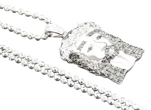 Other 10K White Gold Black Diamond Jesus Pendant with Chain 0.24 Ct