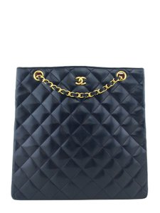 Chanel Leather Gold Hardware Logo Tote in Navy Blue