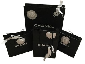 Chanel Lot of 4 Paper Shopping Bags Gift Bags Camellia Flower & Logo Ribbon