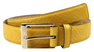 Gucci Diamante Leather Square Buckle Belt Yellow 120/48 345658 7011