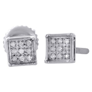 .925 Sterling Silver Diamond Studs 5.10mm Square Earrings 0.05 Ct.