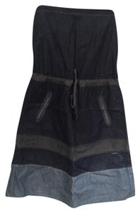 Diesel short dress Blue Chambray Denim Cotton Strapless on Tradesy