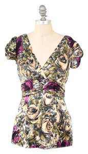 Nanette Lepore Rose Print Short Sleeve Top Olive Green