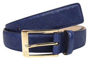Gucci Diamante Leather Square Buckle Belt Navy Blue 100/40 345658 4232