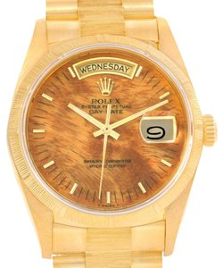 Rolex Rolex President Day-Date 18k Yellow Gold Wood Dial Mens Watch 18078