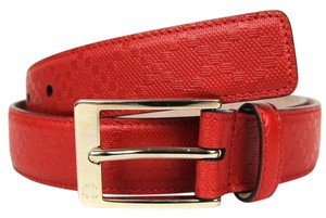 Gucci Diamante Leather Belt with Square Buckle Red 85/34 345658 6523