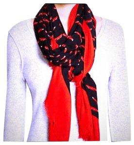Kate Spade Kate Spade New York On The Sly Fox Print Scarf Black Red