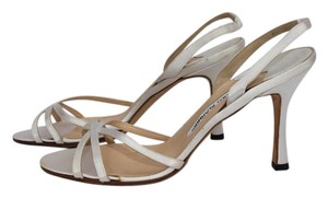 Manolo Blahnik White Satin Sandals