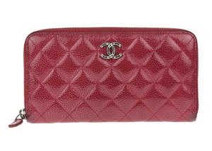 Chanel Red Glazed Calfskin Quilted Zip Wallet