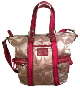 Coach Tote in Khaki & Red