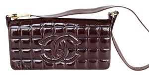 Chanel Chocolate Bar Patent Leather Burgundy Clutch