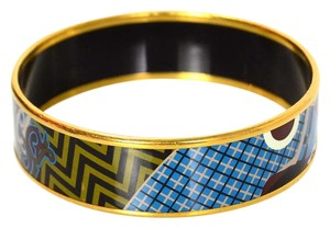 Hermès Hermes Brown, Blue and Beige Enamel Bracelet Sz 65