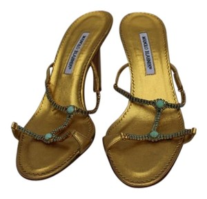 Manolo Blahnik T-strap Gold Leather Sandals