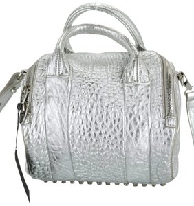 Alexander Wang Sb-15279- Studded Purse Metallic Crossbody Strap Satchel in Sliver