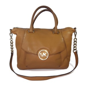 Michael Kors Pebbled Leather Gold Hardware Satchel in Luggage Brown