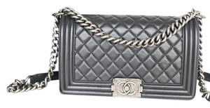 Chanel Boy Old Medium Calfskin Ruthenium Hardware Shoulder Bag