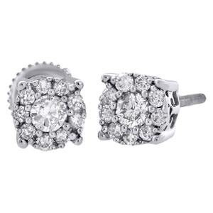 Other 14K White Gold Diamond Solitaire Halo Stud 6.25mm Earrings 3/4 Ct.