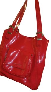 Ted Baker Patent Leather Satchel in Red