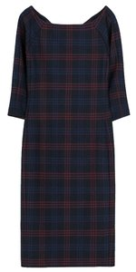 Zara Fitted Holiday Checkered Fall Dress