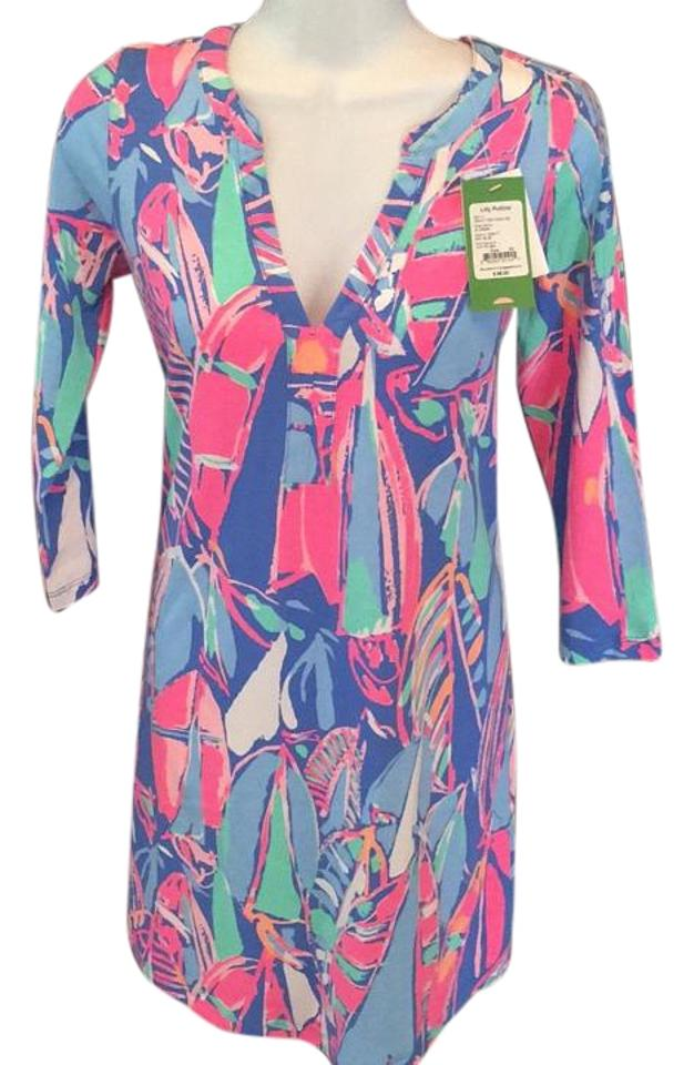 31a7d859dfa1bf Lilly Pulitzer Ali Bay Blue Out To Sea Above Knee Short Casual Dress ...