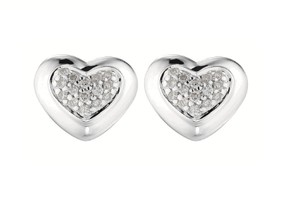 Scott Kay Scott Kay Sterling Silver Diamond Stud Heart .15 Ct Earrings