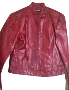 DKNY dark red / burgundy Leather Jacket