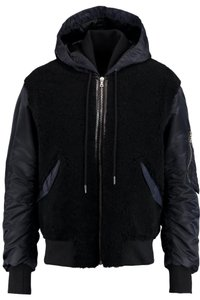 Sandro Shearling Fur Satin Bomber Leather Dark Blue/Black Leather Jacket