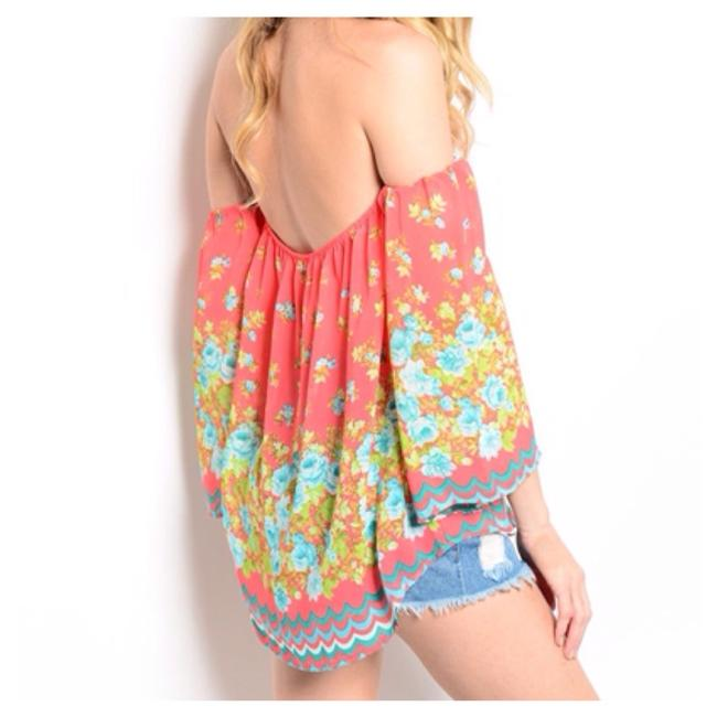 Peach Blue Flowers Top Peach, Blue