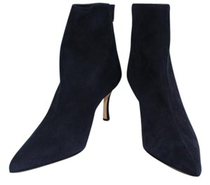Manolo Blahnik Ankle Suede Navy Suede Boots