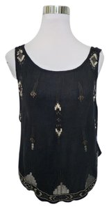 Free People Sequins Beads Bohemian Top Black