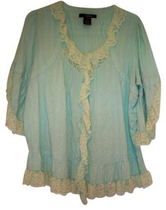 Denim 24/7 Lace Trim Bell Sleeve Top Light Blue