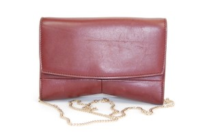 Narciso Rodriguez Nappa Leather Chain Gold Hardware Evening Burgundy Clutch
