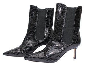 Manolo Blahnik Ankle Suede Black Snake Boots