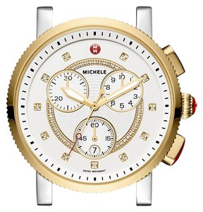 Michele NEW Large Sport Sail Diamond-Dial Two-Tone Watch MW01K00C9021