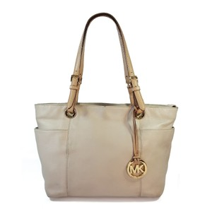 Michael Kors Pebbled Leather Hardware Tote in Cream, Tan, Gold