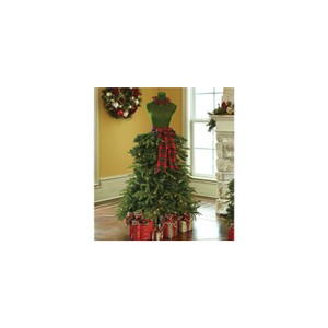 Dress Form Christmas Tree in Red and Green