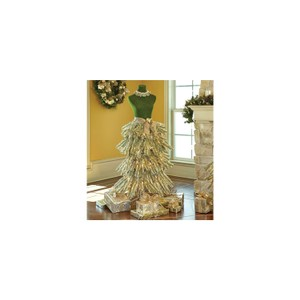 Dress Form Christmas Tree in Red and Champagne