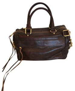 Rebecca Minkoff Leather Brown Gold Hardware Detachable Strap Satchel in Chocolate Brown