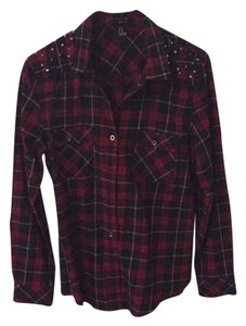 Forever 21 Button Down Shirt Black, red