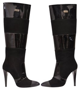 Versace Suede Patent Leather Black Boots